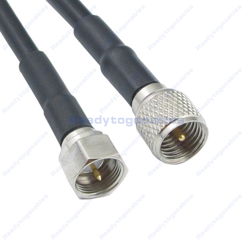 USA-CA LMR100 N MALE to MINI UHF MALE Coaxial RF Pigtail Cable
